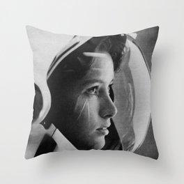 NASA Astronaut, Anna Fisher, black and white photograph Throw Pillow