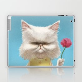 A cat holding a flower Laptop & iPad Skin