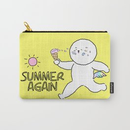 Cute Bichon frise dog with ice cream character design. Carry-All Pouch