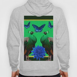 BLUE BUTTERFLIES & GREEN PEACOCKS FLORAL Hoody