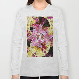 ABSTRACTED FUCHSIA-PINK LILY & HOLLYHOCKS GARDEN Long Sleeve T-shirt