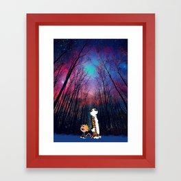 calvin and hobbes nebula night Framed Art Print