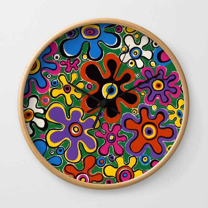 Floral Spin by Nettwork2Design - nettie heron-middleton Wall Clock