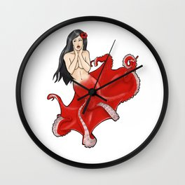 Pin-up Octopus Mermaid Cecaelia Wall Clock