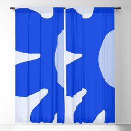 Happy Flower Retro Vibe Royal Blue and Light Blue Blackout Curtain