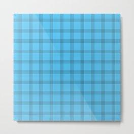 Black Grid on Bright Blue Metal Print