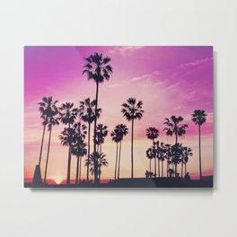 Sunset Palms Purple Tropical Sky Metal Print