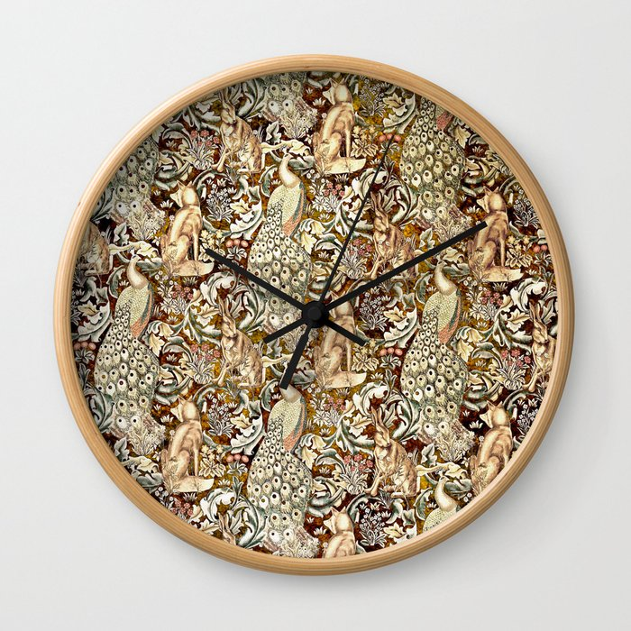 William Morris Forest Tapestry Pattern Wall Clock