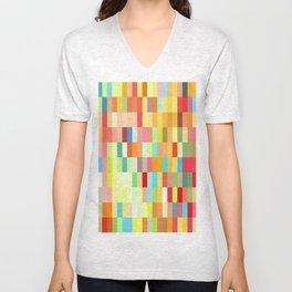 colorful rectangle grid Unisex V-Neck