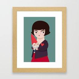 Amélie Poulain and the dwarf Framed Art Print