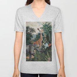 Vintage & Shabby Chic- Antique Beautiful Animal Jungle Forest Unisex V-Neck