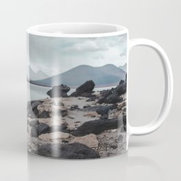 Cairn stack of rocks at Laguna Blanca on a stormy day in Bolivia Coffee Mug