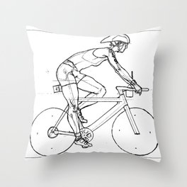 Transitions through Triathlon Cyclists Drawing A Throw Pillow