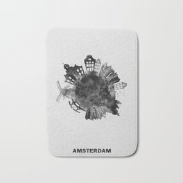 Amsterdam, The Netherlands Black and White Skyround / Skyline Watercolor Painting Bath Mat