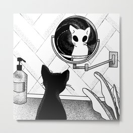 Alien Cat Staring Into Parallel Universe - Space Bathroom - Trippy Line Art Metal Print