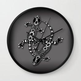 Tangled Geckos on Dark Wall Clock