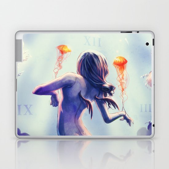 Underwater Clock - Jellyfishes Laptop & iPad Skin