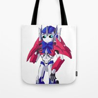 optimus prime Tote Bags featuring Optimus Prime by Crow