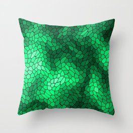 Stained glass texture of snake green leather with bright heat spots. Throw Pillow