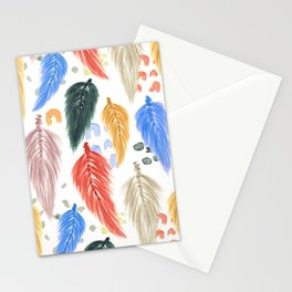 Watercolor Macrame Feathers + Dots in Earthtone Rainbow Stationery Cards