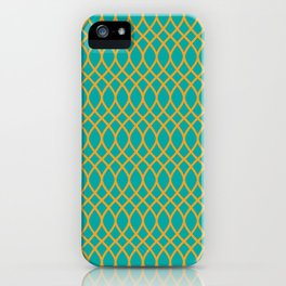 Geometric pattern midcenter green and yellow  iPhone Case