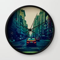 broadway Wall Clocks featuring Broadway Ave. by Wanderlust Fhotos