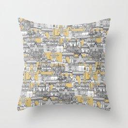 Paris toile gold Throw Pillow