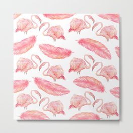 Flamingo Feather Art Pattern Metal Print