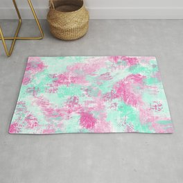 Modern Girly Bright Pink Teal Paint Splotches Rug