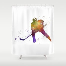 Hockey skater in watercolor Shower Curtain