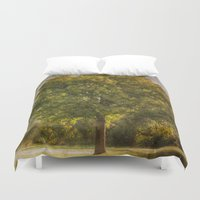 monet Duvet Covers featuring Morning Fog Monet by Elliott's Location Photography