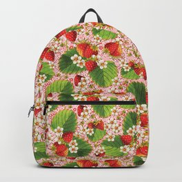 Pink Paisley Strawberries Backpack