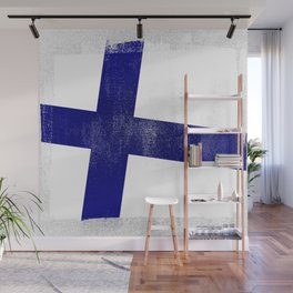 Finnish Distressed Halftone Denim Flag Wall Mural
