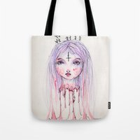 flower of life Tote Bags featuring Life Flower by Sarah Jane Bradley