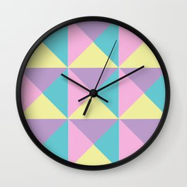 Pastel Color Block Pattern Wall Clock