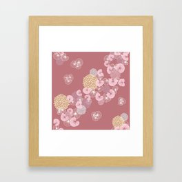 Floral Seamless Pattern on a Rusty Pink Background Framed Art Print