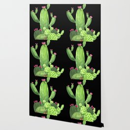 Flowering Cactus Bunch on Black Wallpaper