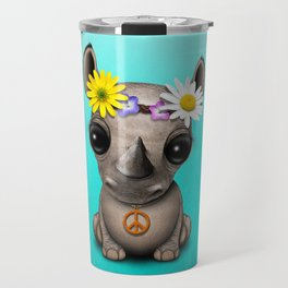 Cute Baby Rhino Hippie Travel Mug