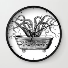 Tentacles in the Tub   Octopus   Black and White Wall Clock