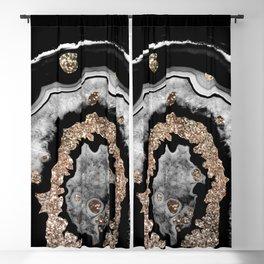 Gray Black White Agate with Gold Glitter on Black #1 #gem #decor #art #society6 Blackout Curtain