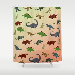 Herbivorous Dinosaurs Pixel Pattern Shower Curtain