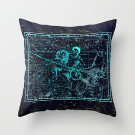 Aquarius, Constellation map, Zodiac, Sign sky, Stars, Universe, astrology, astrological Throw Pillow
