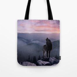 Lone Wolf at Sunset Ridge Tote Bag