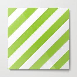 Yellow green diagonal striped pattern Metal Print