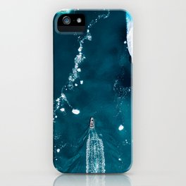 Small boat in an incredibly blue Ocean with Icebergs – Aerial Photography iPhone Case