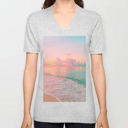 Beautiful: Aqua, Turquoise, Pink, Sunset Relaxing, Peaceful, Coastal Seashore Unisex V-Neck