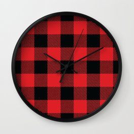 Buffalo Plaid Christmas Red and Black Check Wall Clock