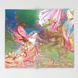 Fairy Hummingbird Throw Blanket