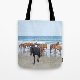 Outer Banks, Corolla, NC, Stallion and his Harem Matted Print Tote Bag