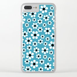 Dizzy Daisies - teal - more colors Clear iPhone Case